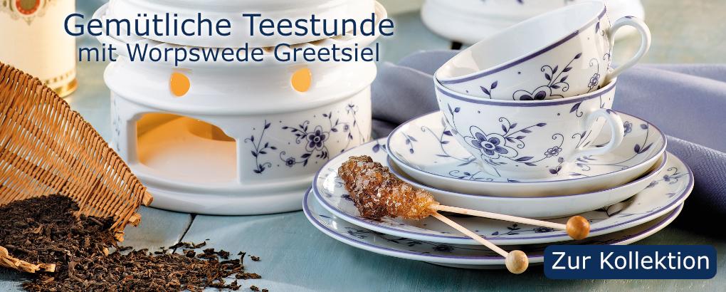 Worpswede Greetsiel, Teeporzellan von Königlich Tettau