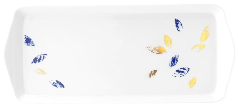 Koeniglich Tettau - Champs Élysées Kuchenplatte eckig 35,5x15,5 cm Charleston Royal Blue