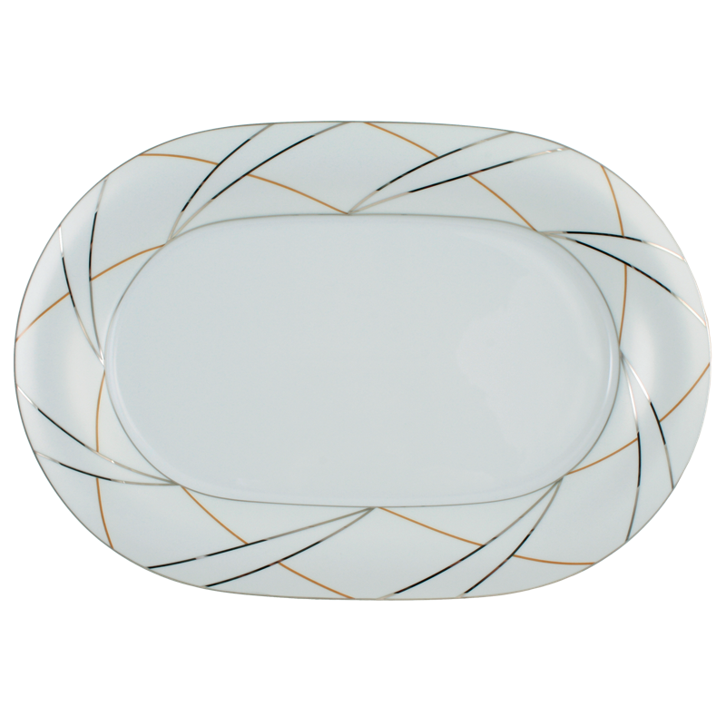 Koeniglich Tettau - Jade Platte oval 36 cm Silk